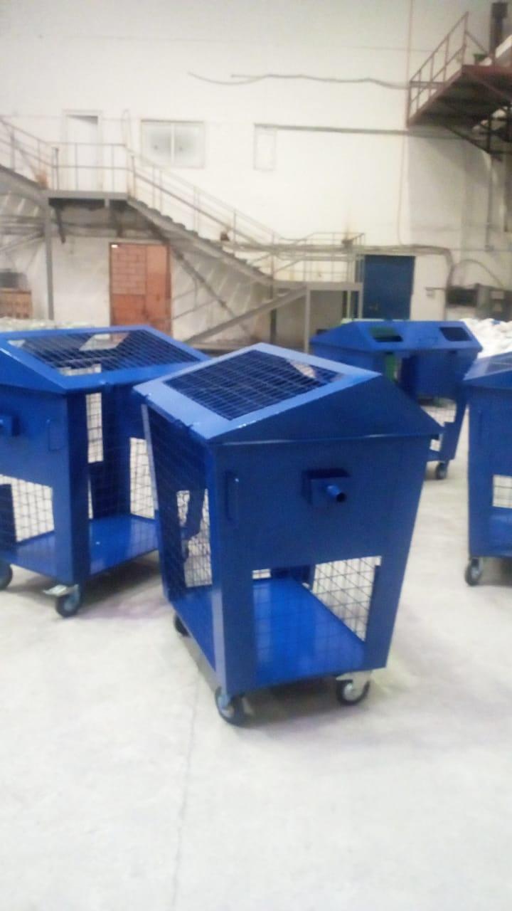 Металлический бак (контейнер) для раздельного сбора отходов с сетчатыми стенками МСМ-КМ 0,8 куб м.