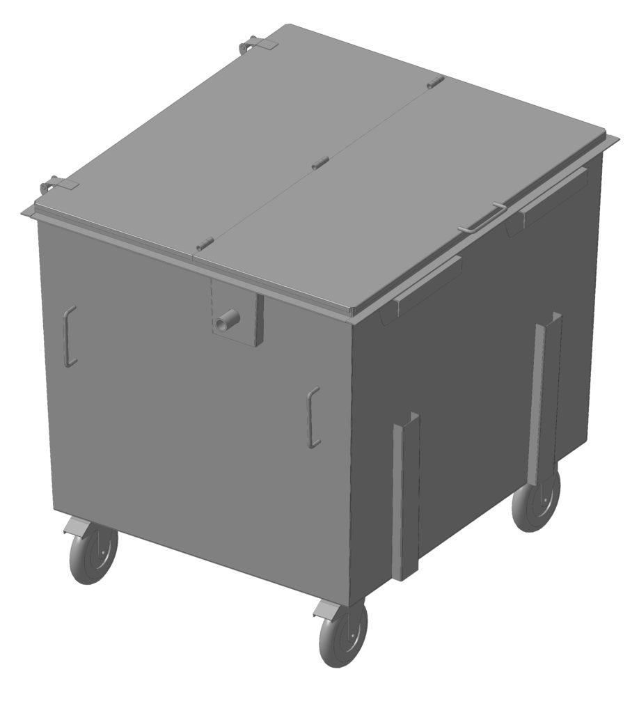 Контейнер металлический 1,1 м.куб. (КМ-1,1) для твердых коммунальных отходов (ТКО)